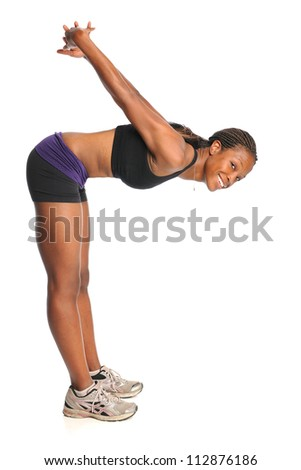 African American Woman stretching isolated over white background - stock photo