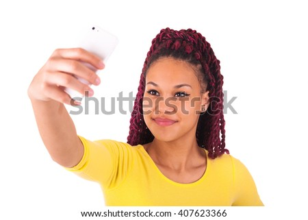African american woman talking on phone - stock photo