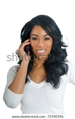 African American Woman talking on the phone - stock photo