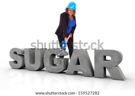 African American woman wearing a protection helmet braking a 3d sugar text, isolated on white background  - Black people - stock photo