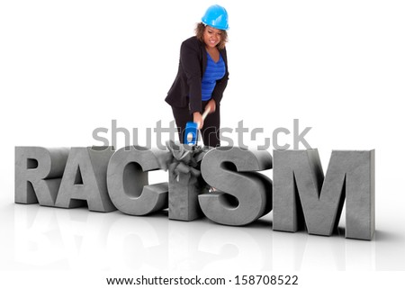 African American woman wearing a protection helmet braking a 3d text, isolated on white background  - Black people - stock photo