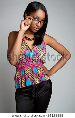 African american woman wearing glasses - stock photo