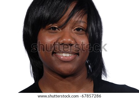 African American woman with fresh beautiful smile - stock photo