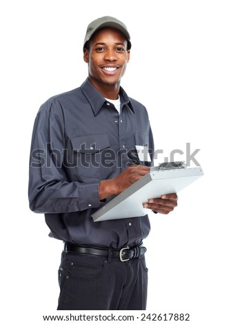 African American worker man isolated white background