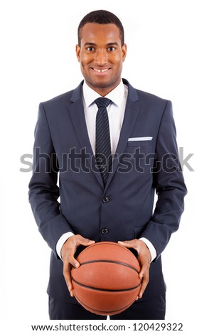 African American young business man holding a basketball, isolated on white - stock photo