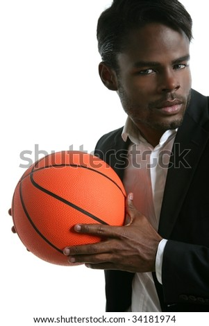 African american young businessman basketball ball in white studio - stock photo