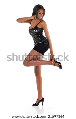 African american young fashion model posing isolated against white