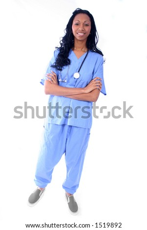 African Amrican Medical Worker - Nurse - Doctor - stock photo