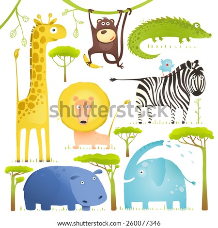 African Animals Fun Cartoon Clip Art Collection. Brightly colored childish African animals set.  Raster variant. - stock photo