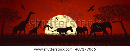 African animals in doodle style. - stock photo