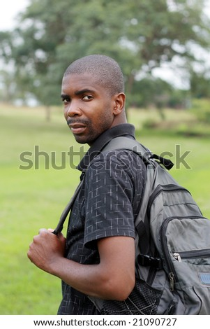 african backpacker in the nature