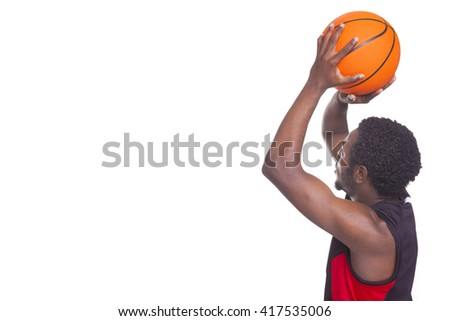 African basketball player with a ball, isolated on white background - stock photo