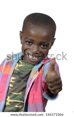 African boy showing thumb up, Studio Shot - stock photo