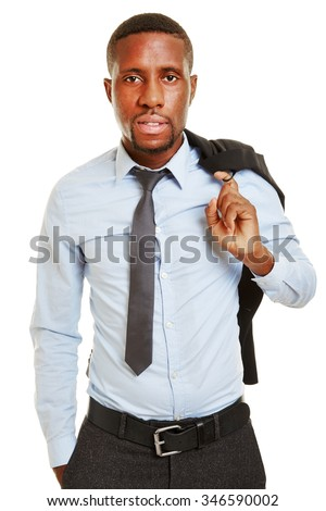 African business man carrying his jacket over the shoulder