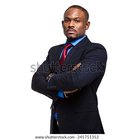 African business man isolated on white - stock photo