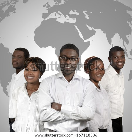 African Business People World Map, Studio Shot - stock photo