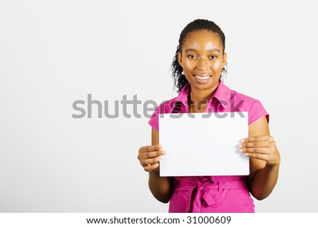 african business woman holding a white board