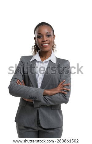 African business woman portrait. Crossed arms. Isolated - stock photo
