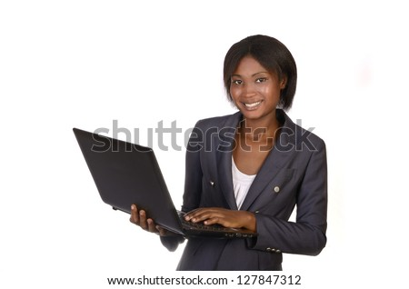 African Business Woman with Notebook, Studio shot, Cameroon - stock photo