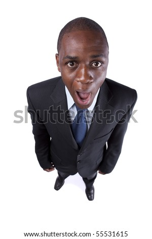African businessman screaming with a strange face expression and open mouth (isolated on white) - stock photo