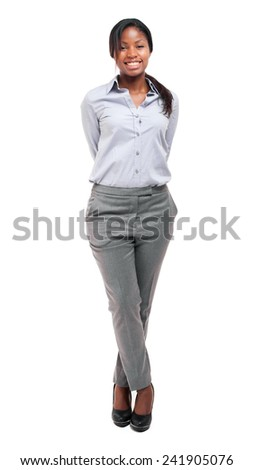 African businesswoman isolated on white  - stock photo