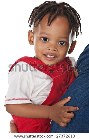 african child with dreadlocks held by his mother - stock photo