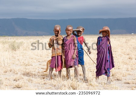 African children standing and looking at camera, Masai people.Tanzania - stock photo