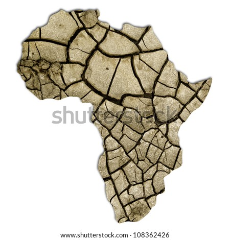 African continent, desertification. With clipping path. - stock photo