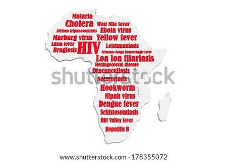 african continent map with diseases text - stock photo