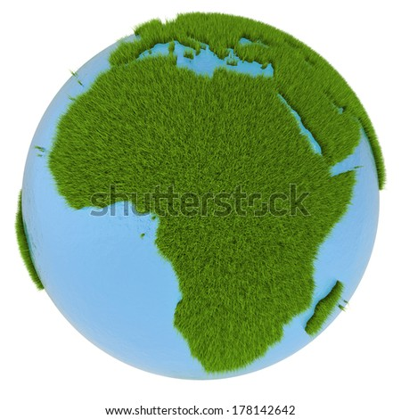 African continent on green planet covered with grass isolated on white background. Concept of ecology and clean environment