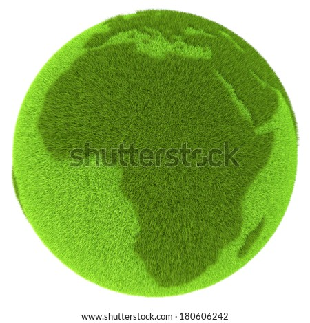 African continent on green planet covered with grass isolated on white background. Concept of ecology and clean environment. Elements of this image furnished by NASA - stock photo