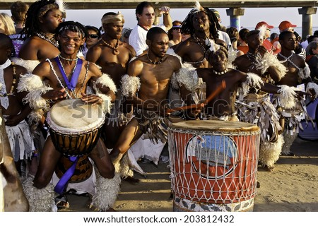 African dancers and drummers at the Iron man South Africa Port Elizabeth 13 April 2014 - stock photo