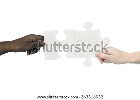 african descent and caucasian women with united jigsaw puzzle - stock photo