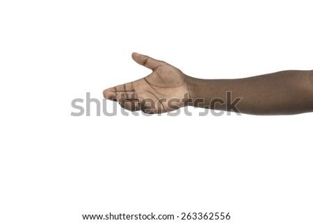 African descent open hand isolated on white - stock photo