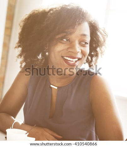 African Descent Woman Smiling Office Beautiful Concept - stock photo