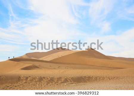 African desert dunes beautiful blue sky
