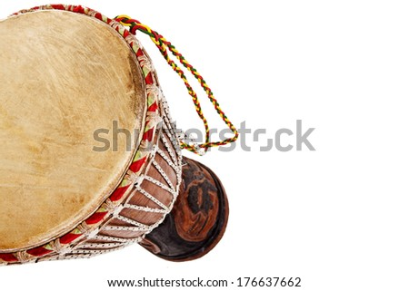 African djembe drum isolated on a white background - stock photo