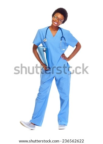 African doctor woman isolated on white background