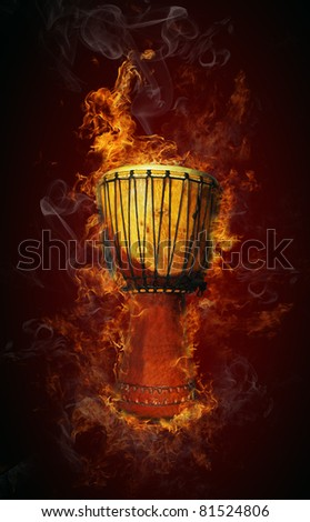 African drum in fire - stock photo