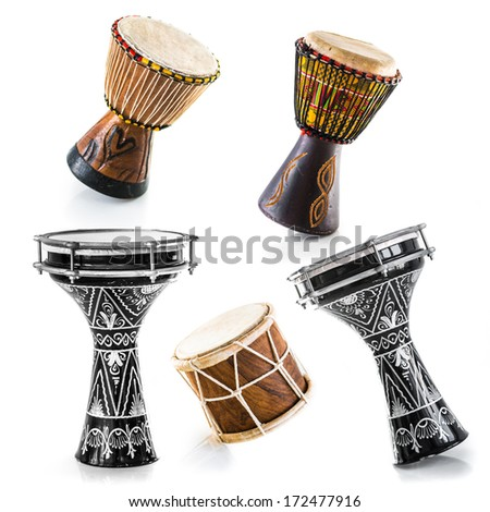 African drums on a white background. Set - stock photo