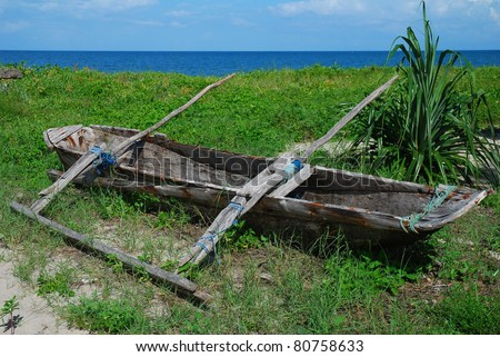 African Dugout Fishing Boat - stock photo