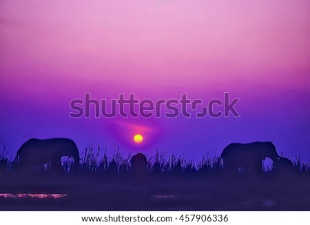 African elephant silhouette at sunset,photo art