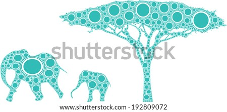 african elephants and tree  a mother and child elephant are walking by a tree in an abstract African landscape composed with blue and white circles. - stock photo