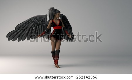 african female as black angel  - stock photo