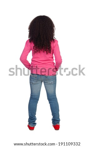 African Girl back isolated on a white background - stock photo