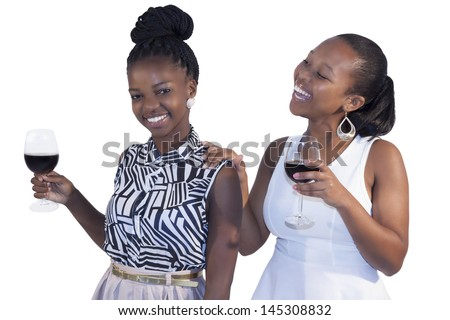 African Girl Drinking Red Wine on white background - stock photo