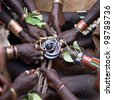 African Hamer ceremony, close-up of hands - stock photo