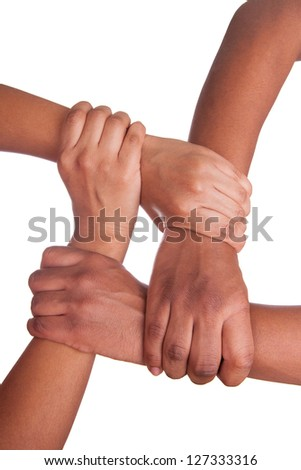 african hands isolated on a white background - stock photo