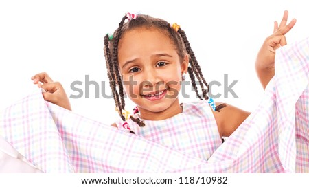 African happy little girl, isolated on white - stock photo