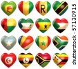 African Hearts - stock vector